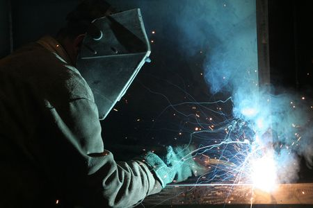 Welder at work - Construction Worker Standard-Bild