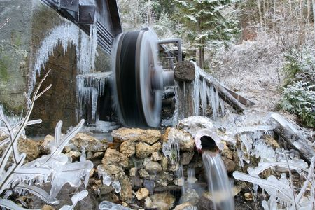 Old Water Mill in Winter -Stock photo photo