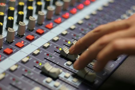 A mixing panel at a live concert photo