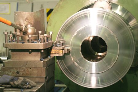 Lathe Turning Stainless Steel  Standard-Bild