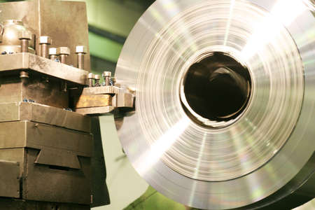 industrie: Lathe Turning Stainless Steel  Stock Photo