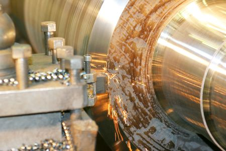turn: Lathe Turning Stainless Steel Stock Photo