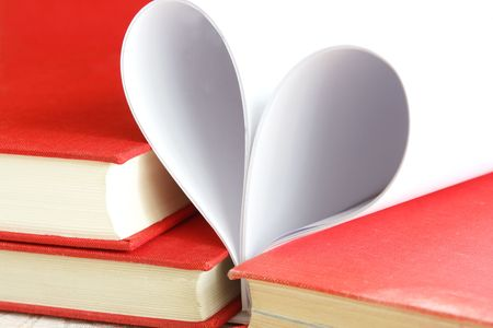 Pages of a book curved into a heart shape Stock Photo - 5112437