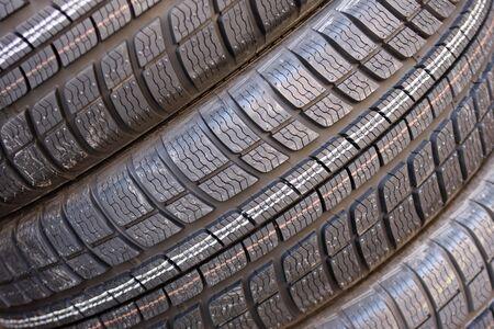 Closeup texture of a car tyre photo