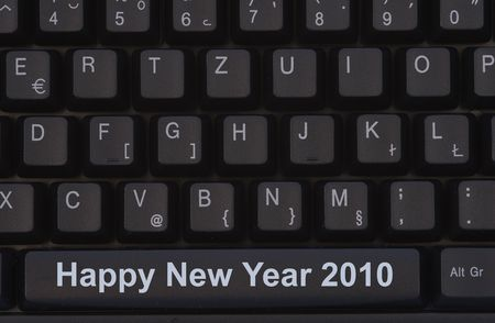 Happy New Year sign spelled with computer key photo