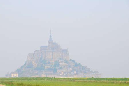 mont saint michel: View to Mont Saint Michel Abbey, France Stock Photo