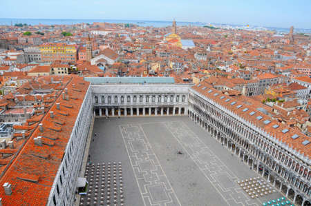 Aerial View to San Marco square and the Venice City, Italy photo