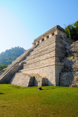 The Temple of Inscriptions with tomb of Pakal inside. Palenque, Maya city ruins, Mexico. photo