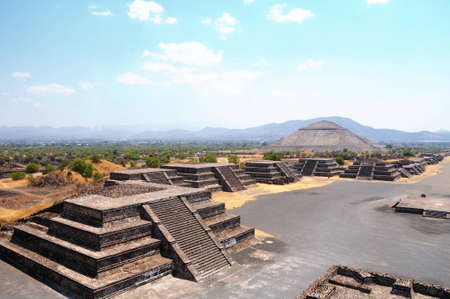 View of the Avenue of the Dead and the Pyramid of the Sun, from the Pyramid of the Moon. Teotihuacan, Mexico photo