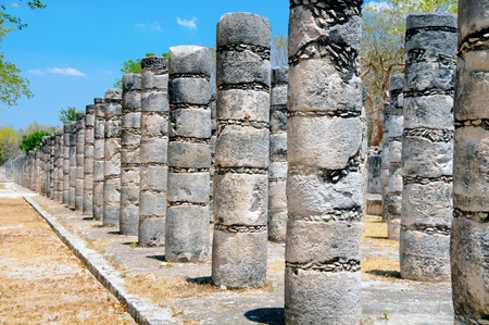 Columns in the Temple of a Thousand Warriors, Chichen Itza, Mexico photo