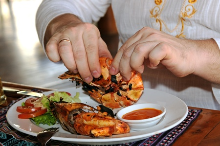 Delicious king prawns prepared for eating  photo