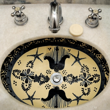 Hand Painted Ceramic Bathroom Sink  Mexico, Oaxaca  photo