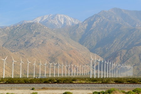 Wind Turbines in the California Desert, near Palm Springs.
