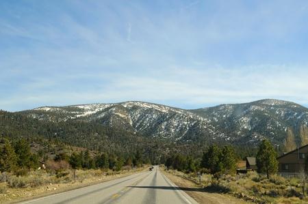 bernardino: Straight San Bernardino mountains road Stock Photo