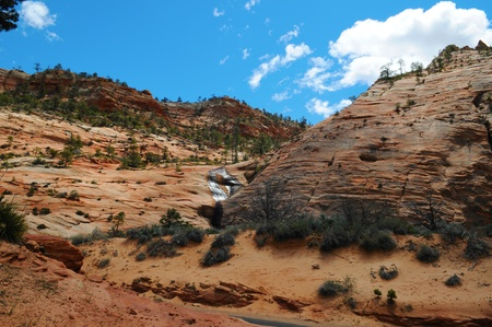 Sand stones in Zion Canyon National Park, Utah, US photo