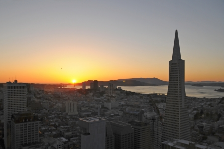 Sunset in Downtown San Francisco, US Stock Photo - 17805357