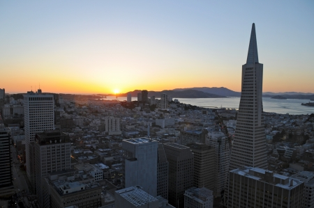 Sunset in Downtown San Francisco, US Stock Photo - 17805358