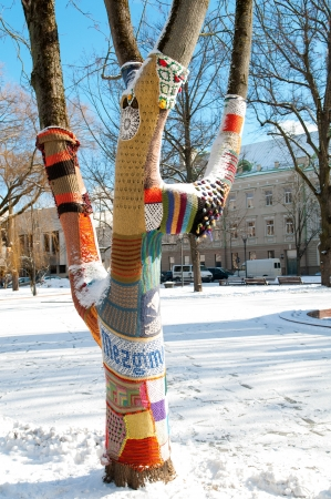 Knitted Tree in Winter Park, Vilnius Lithuania photo