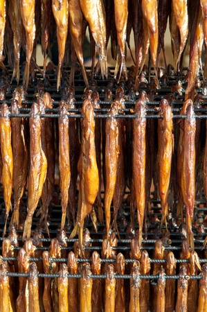 smelt: Cold smoked fish. Food Industry.