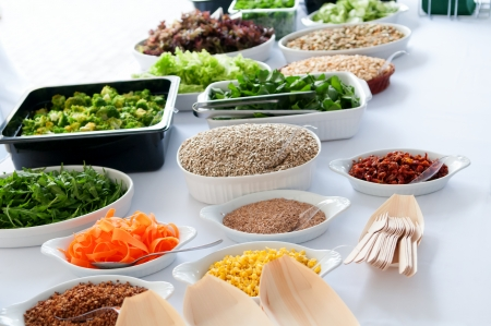 dietary: White table with large selection of dietary food Stock Photo