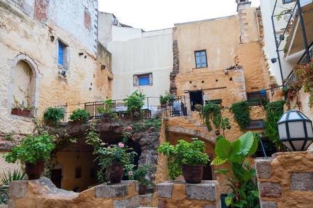 kreta: Hania city old town at Crete island in Greece Stock Photo