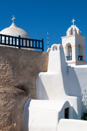 greece: White Church with Blue Sky in background, Santorini, Greece