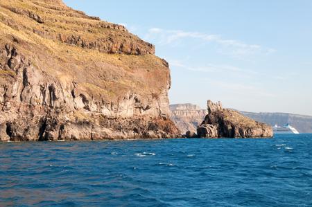 scarp: Panoramic view from the boat,  Santorini island, Greece Stock Photo