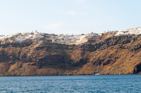 scarp: Panoramic view from the boat,  Santorini island, Greece Stock Photo