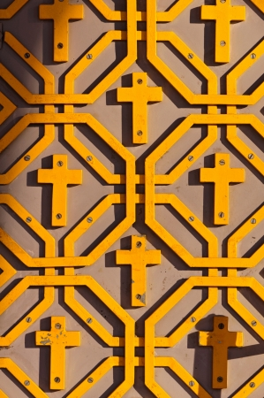 Orthodox pattern with crosses-yellow photo