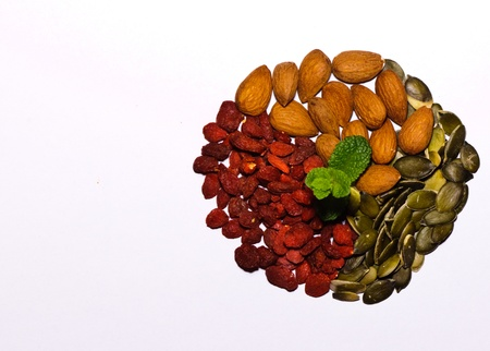 Mix of almonds, goji seeds, pumpkin seeds and fresh mint leaves in the middle photo