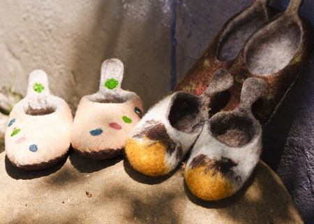Handmade wool slippers from Viscri village, Transylvania photo