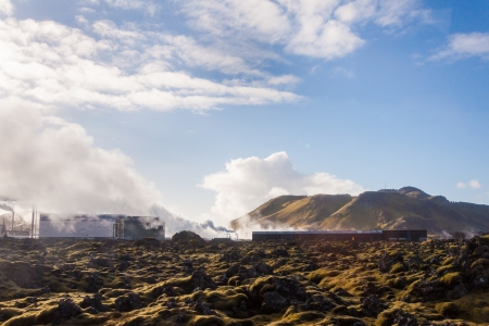 Blue Lagoon - famous Icelandic spa and Geothermal Power plant (panoramic picture) Stock Photo - 25571170