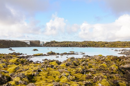 Blue Lagoon - famous Icelandic spa and Geothermal Power plant (panoramic picture) Stock Photo - 25571175