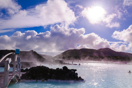 Blue Lagoon - famous Icelandic spa and Geothermal Power plant (panoramic picture) Stock Photo - 25571291