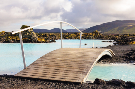 Blue Lagoon - famous Icelandic spa and Geothermal Power plant (panoramic picture) Stock Photo - 25572317