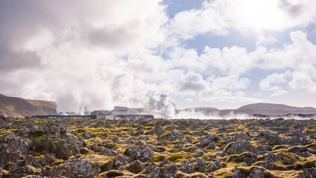 Blue Lagoon - famous Icelandic spa and Geothermal Power plant (panoramic picture) photo