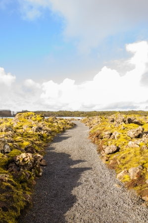 grindavik: Blue Lagoon - famous Icelandic spa and Geothermal Power plant (panoramic picture) Stock Photo
