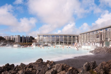 Blue Lagoon - famous Icelandic spa and Geothermal Power plant  panoramic picture