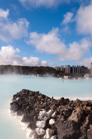 Blue Lagoon - famous Icelandic spa and Geothermal Power plant (panoramic picture) Stock Photo - 25573607