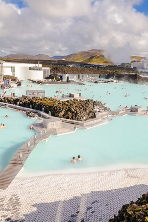Blue Lagoon - famous Icelandic spa and Geothermal Power plant  panoramic picture  Stock Photo - 26558725
