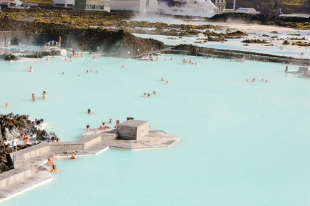grindavik: Blue Lagoon - famous Icelandic spa and Geothermal Power plant  panoramic picture  Editorial