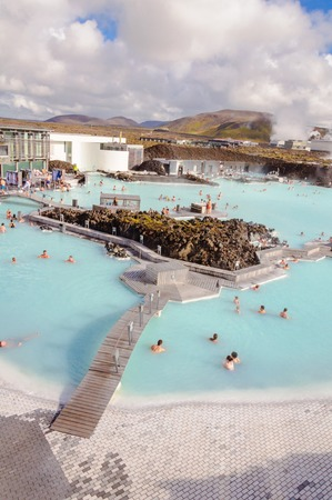 therapy geothermal: Blue Lagoon - famous Icelandic spa and Geothermal Power plant  panoramic picture  Editorial