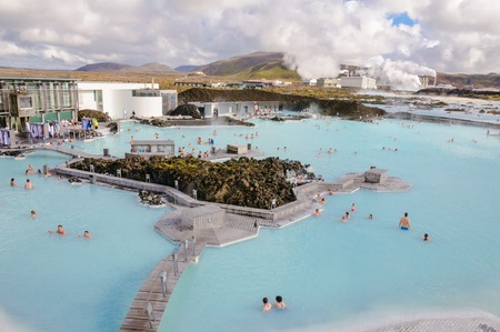Blue Lagoon - famous Icelandic spa and Geothermal Power plant  panoramic picture  Stock Photo - 26558780