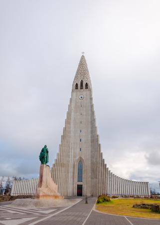 Hallgrimskirkja Church, Reykjavik,Iceland, with statue of Lief Erikson