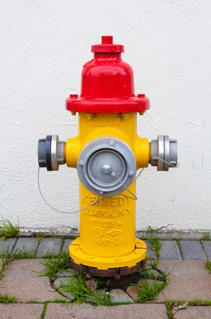 Fire hydrant on the sidewalk photo