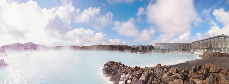 therapy geothermal: Blue Lagoon - famous Icelandic spa and Geothermal Power plant (panoramic picture) Stock Photo