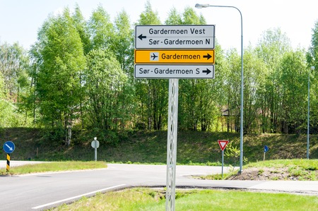 Norway - road directions sign to Gardermoen photo
