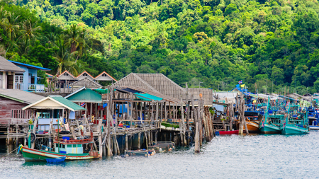 Koh Kood Island, Thailand - May 26, 2014: View of Baan Ao Salad port and fishing village on Koh Kood Island, Thailand.Koh Kood (Ko Kut) is the last Island in the Eastern Thai waters and very close to the Cambodian border.The residents of Koh Kood still ma