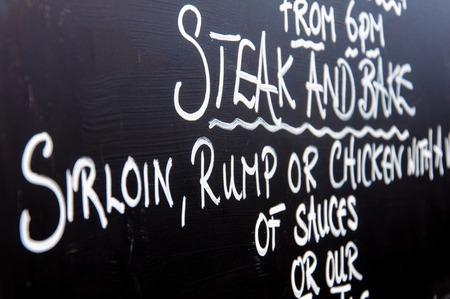 Close up on traditional British menu sign photo