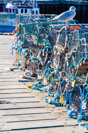 lobster pots: Closeup on Lobster pots on the dock, England Stock Photo